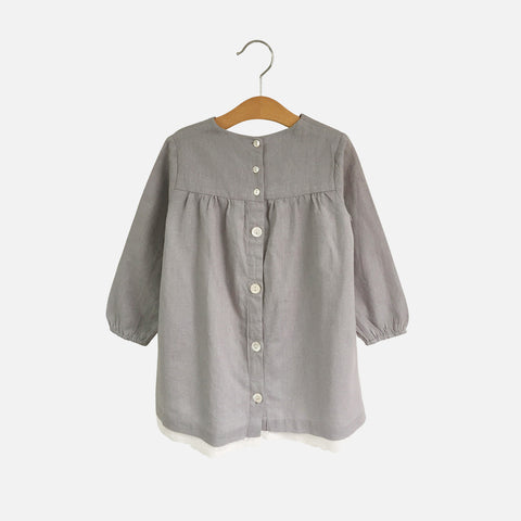 Cotton/Linen Delsey Smock Dress - Dove Grey - 3-7y