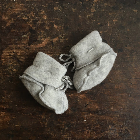 100% Organic Merino Wool Fleece Booties - Light Grey