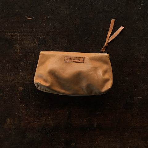 Organic Leather Velo Zip Pouch - Natural