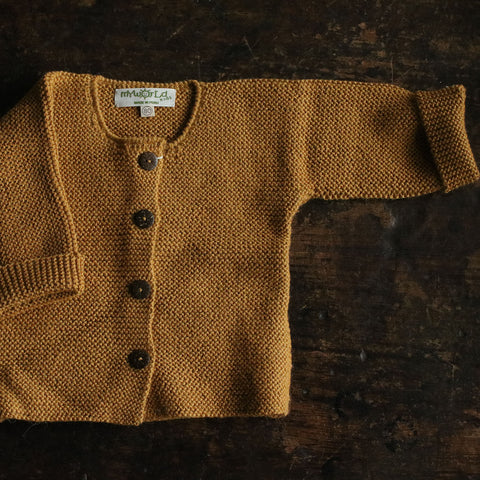 Exclusive Hand Knitted Alpaca Cardigan - Mustard