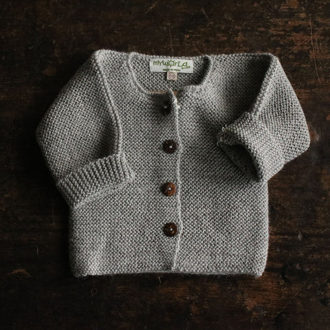Exclusive Hand Knitted Alpaca Cardigan - Light Grey