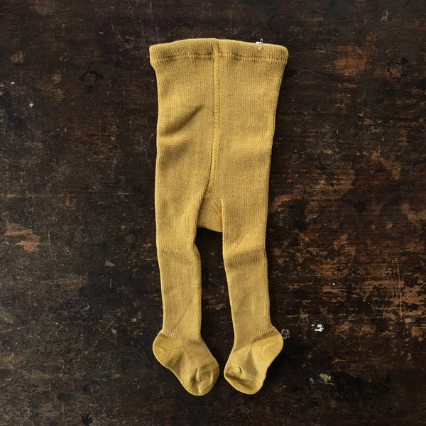Fine Merino Wool/Cotton Kids Tights - Gold