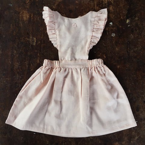 Cotton Pinafore Ruffle Dress - Pink - 2-3y