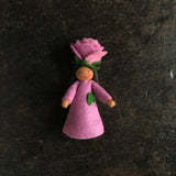 Handmade Small Wool Flower Fairy - Pink Rose