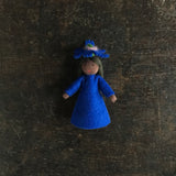 Handmade Small Wool Fairy With Flower - Cornflower - Black