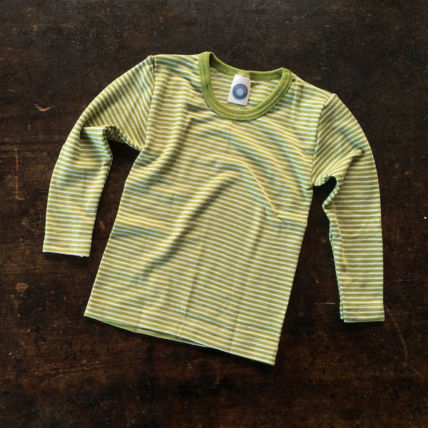 Organic Merino Wool & Silk Top Striped - Olive - 18m-8y