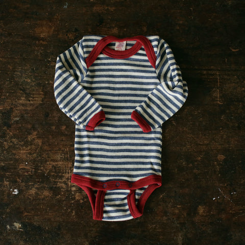 100% Organic Merino Wool Body - Blue Melange Stripe - 0m-3y