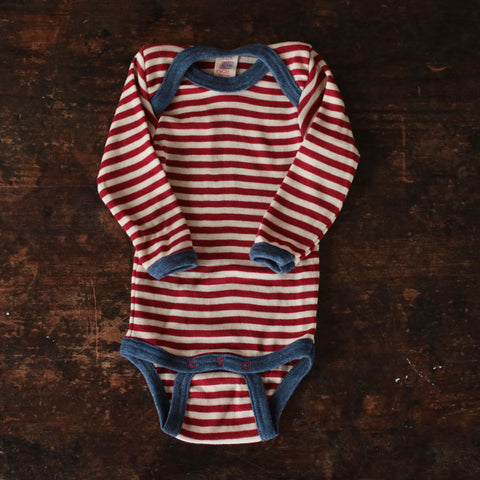 100% Organic Merino Wool Body - Red Stripe - 0m-3y