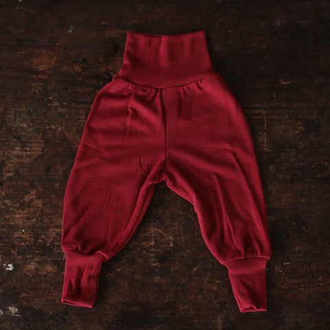 Organic Merino Wool Baggy Pants - Red Melange