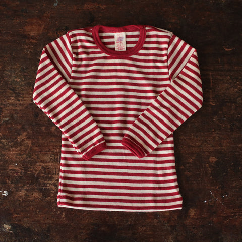 Organic Merino Wool LS Vest/Top - Red Melange stripe