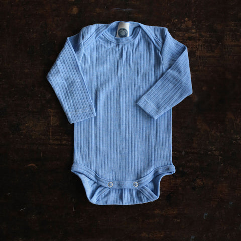 Organic Merino Wool, Cotton & Silk Body - Sky Blue - 0-4y