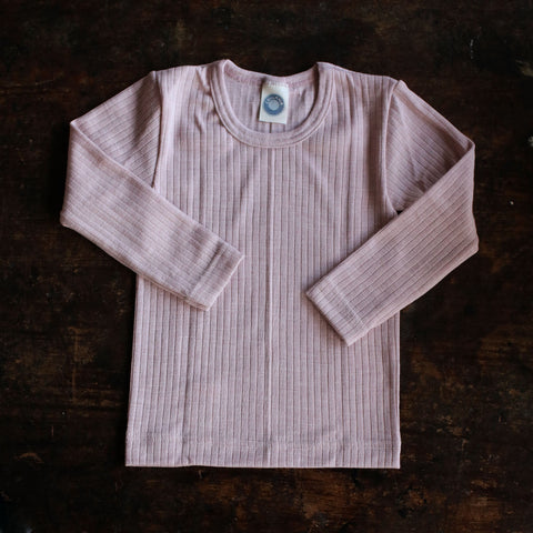 Organic Merino Wool, Cotton & Silk Top - Pale Pink - 18m-8y