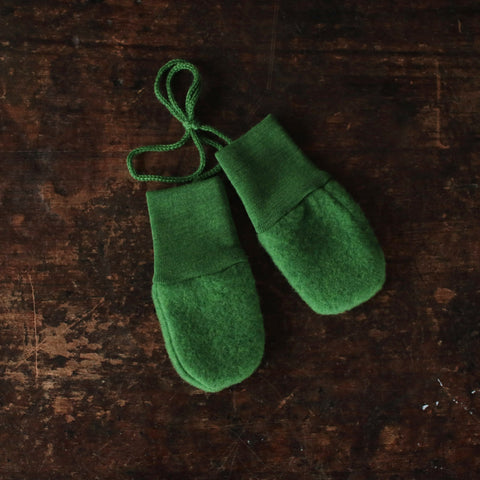 Organic Merino Wool Fleece Baby Mittens - Grass