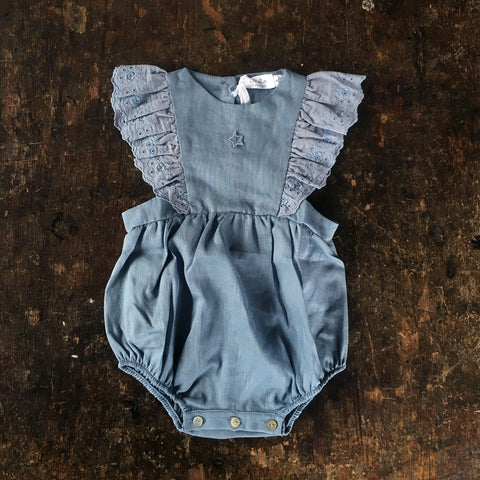 Cotton Baby Ruffle Romper - Blue - 9-18m