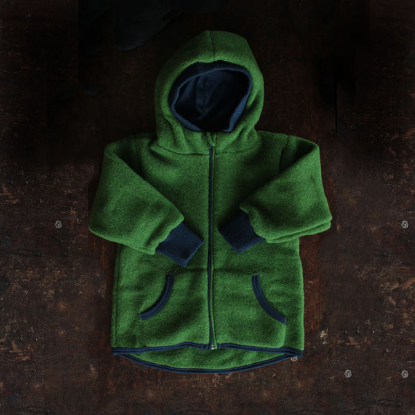 Supersoft Organic Merino Wool Fleece Jacket - Grass - 3y-10y