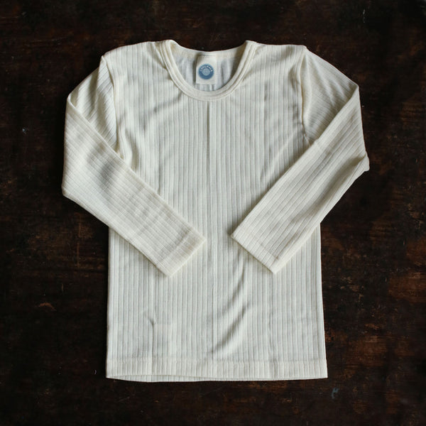 Organic Merino Wool, Cotton & Silk Top - Ecru - 18m-8y