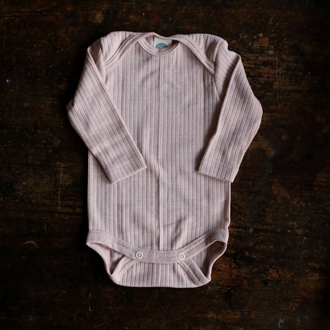 Organic Merino Wool, Cotton & Silk Body - Pale Pink - 0-4y