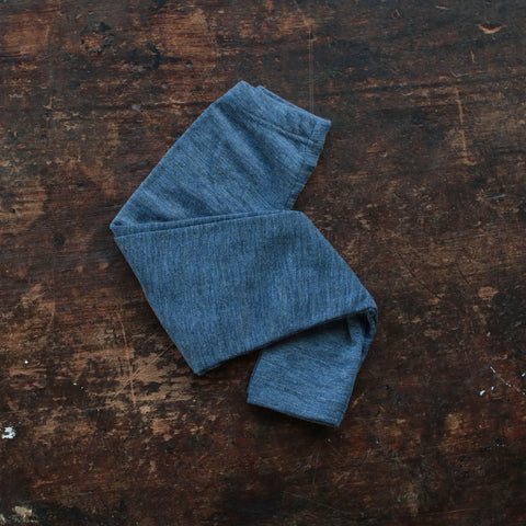 100% Organic Merino Wool Leggings - Blue Melange