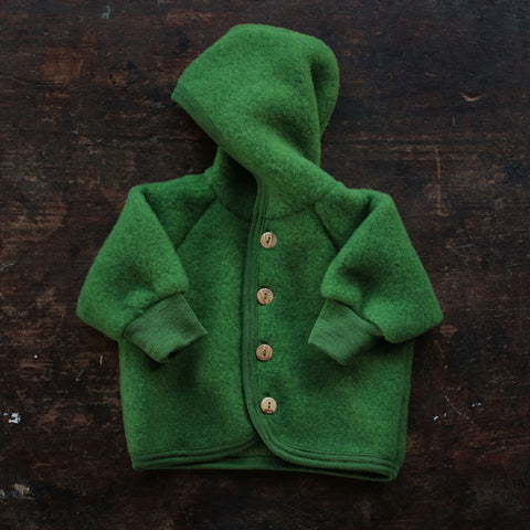 Organic Merino Wool Fleece Jacket - Grass - 0m-2y