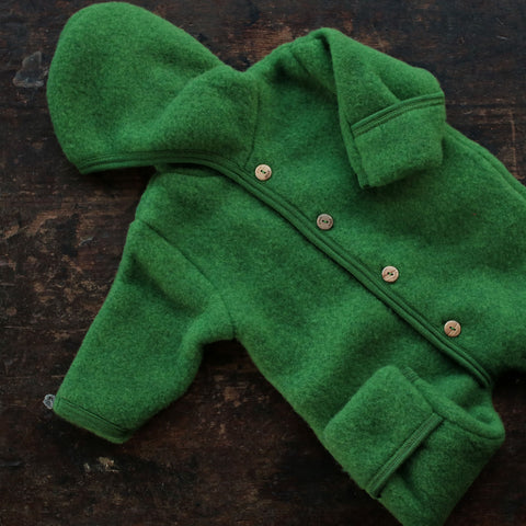 100% supersoft Organic Merino Wool Fleece Suit - Grass - 0m-2y