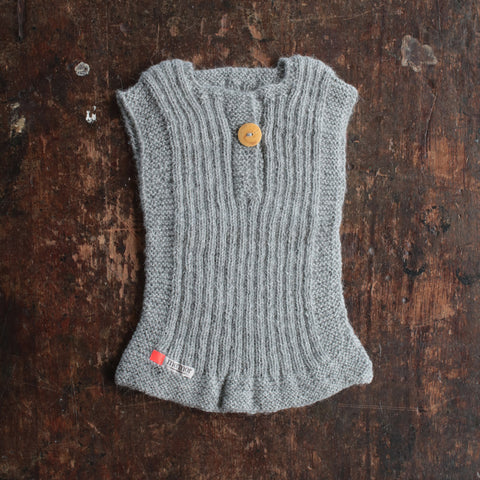 Hand-knitted Alpaca Rib Vest -Light Grey - 0m-6y