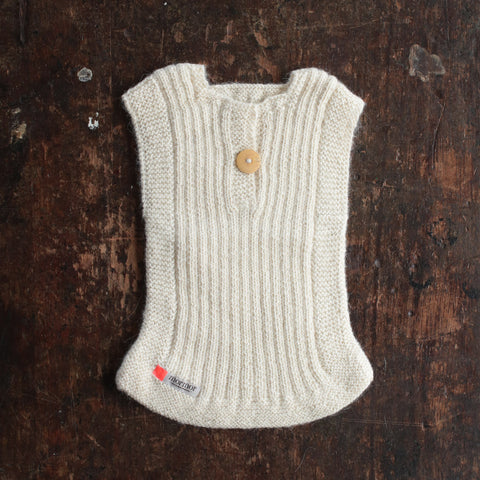Hand-Knitted Alpaca Rib Vest - Natural