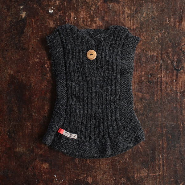 Hand-knitted Alpaca Rib Vest - Anthracite - 0m-6y