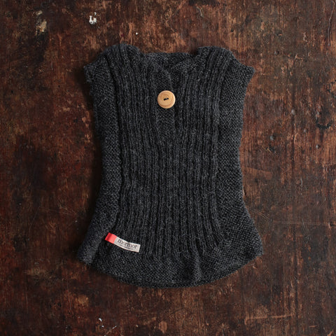 Hand-knitted Alpaca Rib Vest - Anthracite