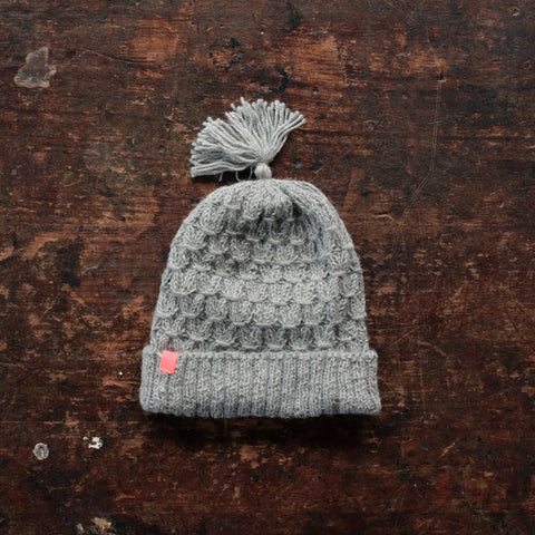 Hand Knitted Alpaca Smock Hat - Light Grey - 3-5y