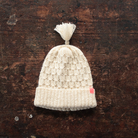 Hand Knitted Alpaca Smock Hat - Natural
