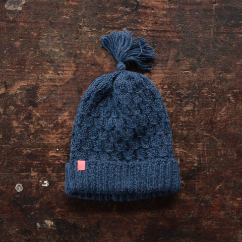 Hand Knitted Alpaca Smock Hat - Navy - 3-5y