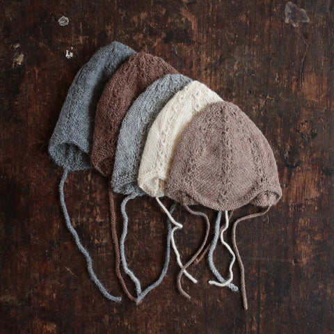 Hand Knitted Alpaca Grethe Bonnet - Dusty Brown -  0m-2y