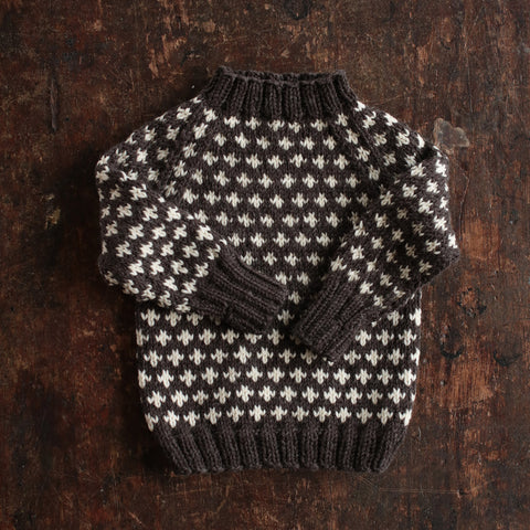 Hand-Knit Sweater Knud - Dark Brown - 1-10y