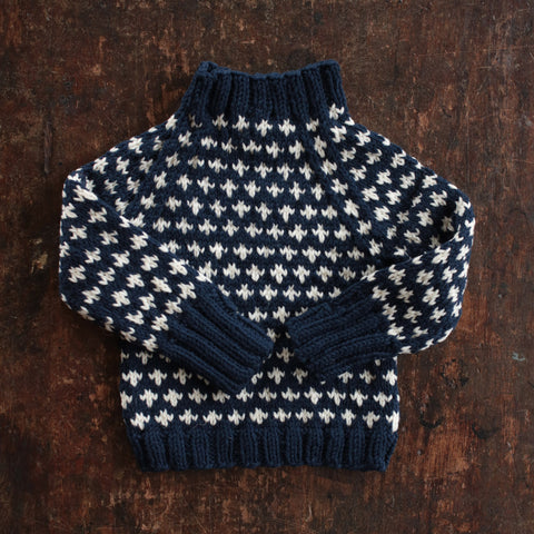 Hand-Knit Sweater Knud - Navy- 1-10y
