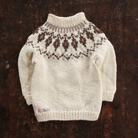 Hand-Knit Wool/Alpaca Sweater Gudny - Natural - 1-4y