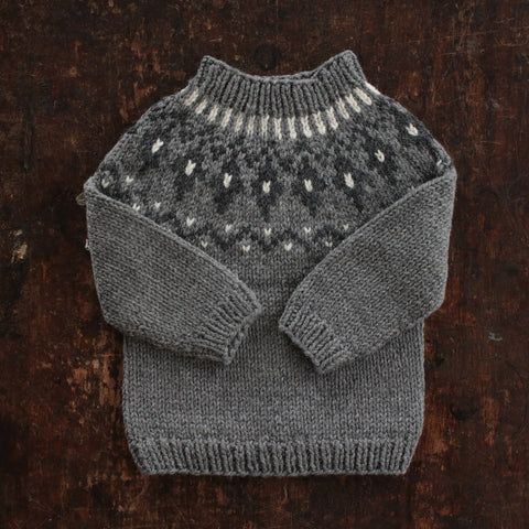 Hand-Knit Wool/Alpaca Sweater Gudny - Slate - 1-6y