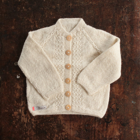 Hand-knitted Alpaca Grethe Cardigan - Natural - 3m-5y