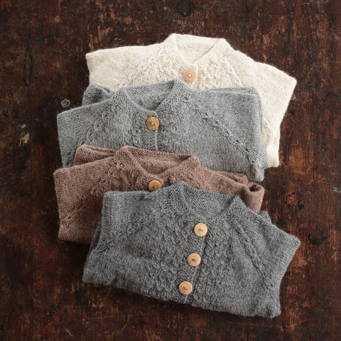 Hand-knitted Alpaca Grethe Cardigan - Dusty Brown - 3m-5y