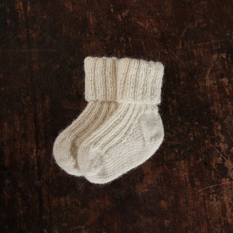 Hand-knitted Alpaca Socks - Natural - 0m-5y