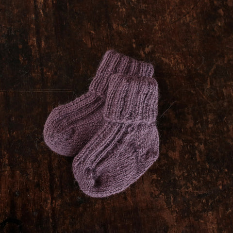 Hand-knitted Alpaca Socks - Plum - 0m-5y