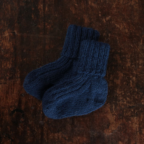 Hand-knitted Alpaca Socks - Navy - 0m-5y
