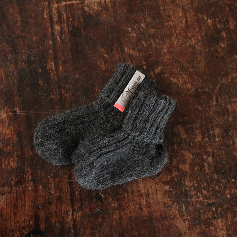 Hand-knitted Alpaca Socks - Anthracite - 0m-5y