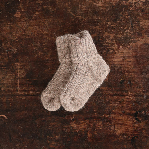 Hand-knitted Alpaca Socks - Dusty Brown - 0m-5y