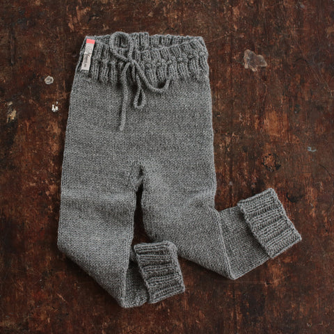 Hand-Knit 100% Wool Kids Pants - Slate - 1-5y