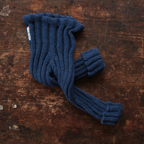 Hand-knitted Alpaca Rib Pants - Navy - 1-5y