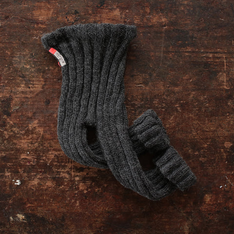 Hand-knitted Alpaca/Wool Rib Pants - Anthracite