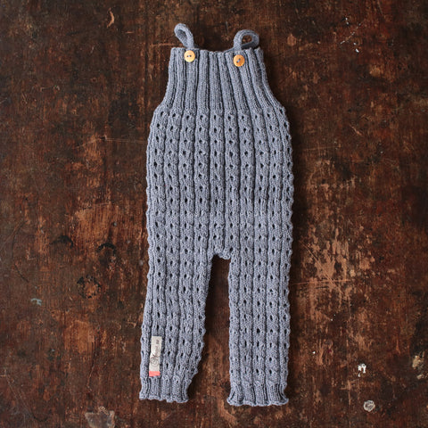 Hand Knitted Cotton/Merino Romper - Bluebell - 0-12m