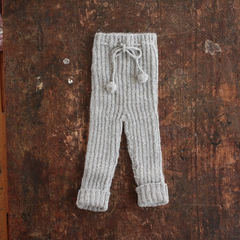 Hand-knitted Alpaca Baby Rib Pants - Light Grey - 0-12m