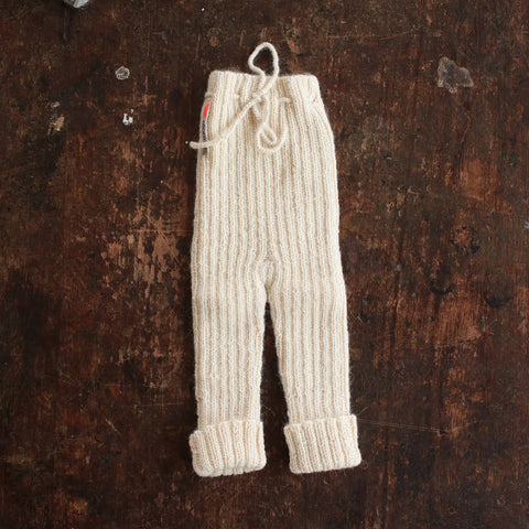 Hand-knitted Alpaca Baby Rib Pants - Natural - 0-12m