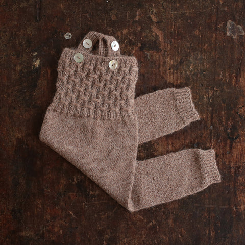 Hand-knitted Alpaca Baby Smock Romper - Dusty Brown - 0-12m